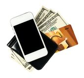 Smartphone lying on the purse with banknotes of United States an Royalty Free Stock Images