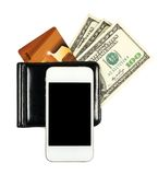 Smartphone lying on the purse with United States dollars and cre Royalty Free Stock Image