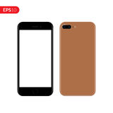 Smartphone, móbil, modelo do telefone isolado no fundo branco com tela vazia Ilustração realística do vetor da vista traseira e d Imagens de Stock Royalty Free