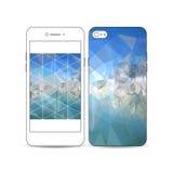 Smartphone móvil con un ejemplo del diseño de la pantalla y de la cubierta aislado en blanco Fondo poligonal azul abstracto Foto de archivo libre de regalías