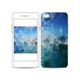 Smartphone móvil con un ejemplo del diseño de la pantalla y de la cubierta aislado en blanco Fondo poligonal azul abstracto Fotos de archivo