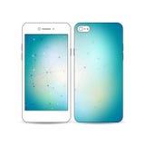 Smartphone móvil con un ejemplo del diseño de la pantalla y de la cubierta aislado en el fondo blanco Construcción molecular Fotos de archivo