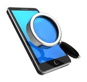Smartphone with magnifier Royalty Free Stock Photo