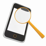 Smartphone and a magnifying glass. Isolated render on a white background Stock Photo