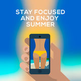 Smartphone make picture of female backside. Beach concept, hand holding smartphone and make picture of a female backside in a yellow swimsuit. Vector Eps10 image royalty free illustration