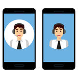 Smartphone with male operator, set Royalty Free Stock Photo
