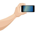 Smartphone. Man hand photoshooting on smartphone over white background vector illustration