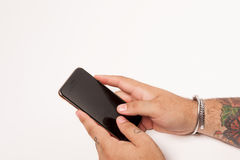 Smartphone and man. Holding, addicted to my smartphone Royalty Free Stock Images