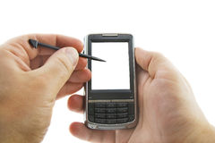 Smartphone in mani, bianco isolato Fotografie Stock