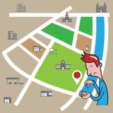 Smartphone-Mann, der Standort sucht Lizenzfreies Stockfoto