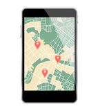Smartphone map Royalty Free Stock Photography