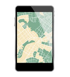 Smartphone map Stock Photography