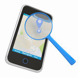 Smartphone with map and magnifying glass. Smartphone with navigation map and a magnifying glass. Isolated render on a white background Stock Image