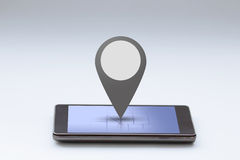 Smartphone with map and pin bar Royalty Free Stock Photos