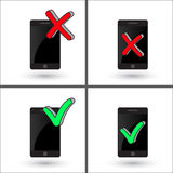Smartphone with Mark X and V. Green hooks, red crosses, isolated. Yes No icons for websites. Right Wrong on mobile phone Stock Image