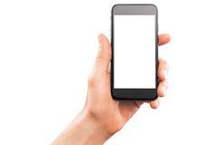 Smartphone maschio della tenuta della mano Fotografie Stock Libere da Diritti