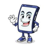 Smartphone Mascot Waving. With him palm cartoon character design vector illustration vector illustration