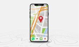 Smartphone med översikten och den röda knappnålsspetsen på skärmen som isoleras på linjen översiktsbakgrund royaltyfria bilder
