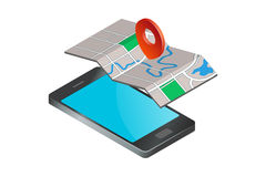 Smartphone med översiktssymbolen Royaltyfri Illustrationer