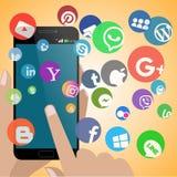 Smartphone med allt socialt nätverk vektor illustrationer