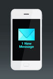 Smartphone med den nya meddelandesymbolen Arkivfoton