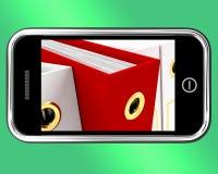 Smartphone med den röda mappen som visar organiserande data Fotografering för Bildbyråer