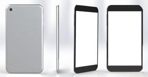 Smartphone med den tomma skärmen i flera placerar och metar Arkivbild