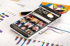 Smartphone med en genomskinlig skärm Fotografering för Bildbyråer
