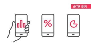 Smartphone med grafsymbolen, cirkeldiagramvektor på skärmen Illustration för vektordesignbeståndsdel, linje symboler mobil för ha royaltyfri illustrationer