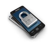 Smartphone med låser. Säkerhetsbegrepp. Arkivfoto