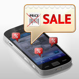 Smartphone med meddelandebubblan om försäljning Fotografering för Bildbyråer