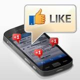 Smartphone med meddelandebubblan om tummen upp (som) Fotografering för Bildbyråer