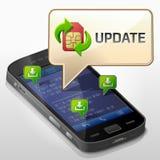 Smartphone med meddelandebubblan om uppdatering Fotografering för Bildbyråer