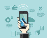 Smartphone med mobila betalningar från kreditkort Arkivbilder