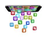 Smartphone med molnet av applikationsymboler Royaltyfria Foton