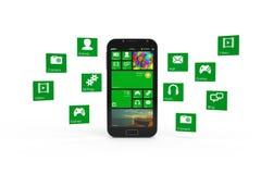 Smartphone med molnet av applikationsymboler Royaltyfri Fotografi