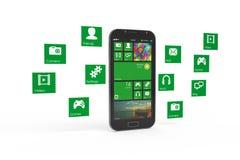 Smartphone med molnet av applikationsymboler Royaltyfri Bild
