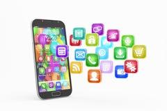 Smartphone med molnet av applikationsymboler Royaltyfria Bilder