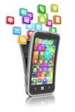 Smartphone med molnet av isolerade applikationsymboler Royaltyfri Fotografi