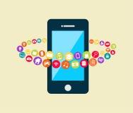 Smartphone med multimediaapplikationer Mobiltelefonapplikationteknologi royaltyfri illustrationer
