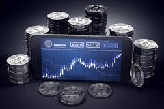 Smartphone med på-skärmen för Dashcoin handeldiagram bland högar av silver Dashcoins stock illustrationer
