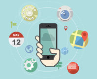 Smartphone med plana symboler Arkivfoton