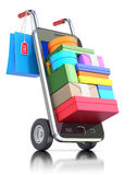 Smartphone med shoppingmaterial royaltyfri illustrationer