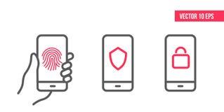Smartphone med skydds- och säkerhetslinjen symboler på skärmen Behörigt häfte, fingerbildläsning, sköldsäkerhet, privat låssymbol stock illustrationer