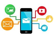 Smartphone med sociala massmediaapps Royaltyfri Illustrationer