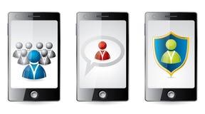 Smartphone med sociala medelsymboler stock illustrationer