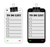Smartphone med som gör listan på en skärm Royaltyfri Fotografi