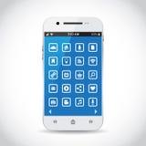 Smartphone med symboler Royaltyfria Foton
