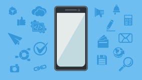 Smartphone med symboler också vektor för coreldrawillustration Royaltyfri Fotografi