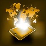 Smartphone med världskartan och symboler Royaltyfri Bild